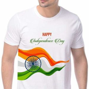 Printed Independence Round Neck White T-Shirt